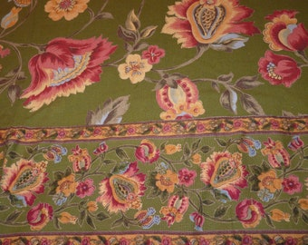 Vintage 90s April Cornell INDIA Handblock Woodblock Rich Floral Moss Green Cranberry Gold Tablecloth Stunning Pattern Excellent Condition