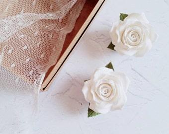 Accessori per capelli, Rose bianche, Mollette per capelli, Fermaglio per capelli, Accessori per la sposa, Accessori per l'acconciatura