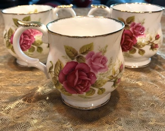 Queen's Fine Bone China Made in England Est. 1875 Set of 3 Teacups/Coffee Cups with Gold Trim Rose Design, Item #607021965