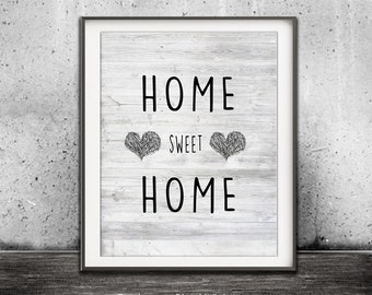 Home Sweet Home Print Black And White Printable Art Heart Print Home Decor Beach Wood Rustic Beach House Digital Download Wall Decor Saying