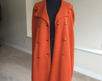Orange Wool Sweater Cape Robinson's California 1960 1970