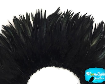 """Rooster Feathers, 4 Inch Strip - 6-7"""" BLACK Strung Chinese Rooster Saddle Feathers : 4011"""