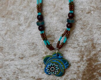 Flower Necklace, in blues and greens, Ceramic, earthy, tribal jewelry