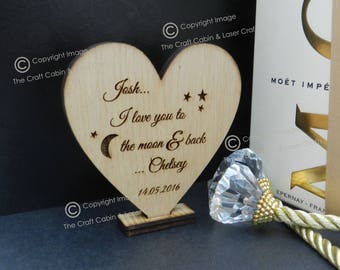 Personalised I love you to the moon & back. Wooden Heart Free Standing. Valentines Day Gift. Wedding Gift Idea, Anniversary Gift