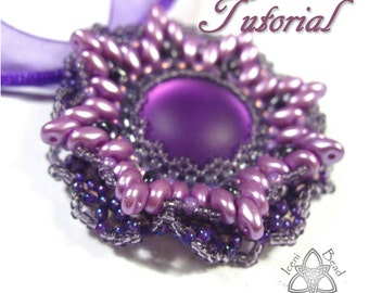 PDF Tutorial Anemone Flower Pendant with Lunasoft Cabochon and SuperDuo Beads, Tutorial, Beading Pattern English Only,