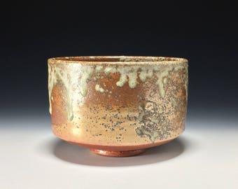 Chawan Matcha cone 10  茶碗 Gold Shino Wood Ash on Stoneware Wabi Sabi