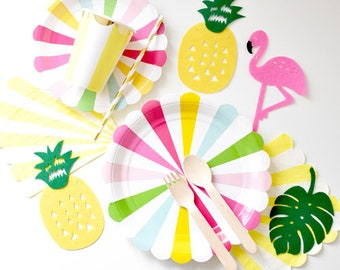 Rainbow tropical party plates cups napkins straws for 8 | party tableware set