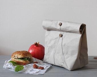 Lunch Bag, Reusable paper bag, washable paper bag, food storage, picnic bag, kraft-tex, vegan, minimalistic, eco, zero waste