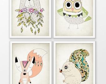 Cute Animal Nursery Print Set Of 4 - Woodland Animal Art - Squirrel - Bear - Owl - Fox - Baby Shower Gift - Cute Animal Playroom Picture #49