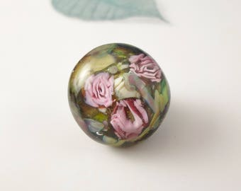 Roses Dreams Garden Handmade Glass Lampwork Glass Cabochon with rose