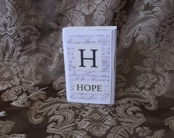 Hope block, wood shelf sitter, shabby white and black