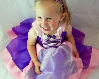 Rapunzel Dress: Purple sparkle tulle with pink center trim & straps, Halloween Costume tutu, Birthday Party, princess dinner, adjustable