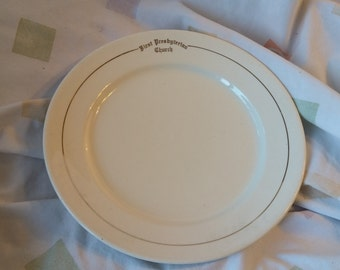 On Sale C P Company First Presbyterian Church 9 inch Luncheon Serving Plate with Gold Design