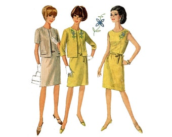 1960s Dress and Jacket Pattern Slim Skirt Sleeveless Dress Cropped Jacket Simplicity 7101 Bust 35 Vintage Sewing Pattern Embroidery Transfer