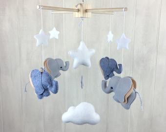Elephant mobile - Elephant, clouds and stars mobile- baby mobile - nursery mobile - baby crib mobile - cloud mobile - star mobile - baby
