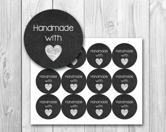 Chalkboard gift tags, Handmade with love tags, gift tags, printable gift tags, instant download