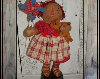 Primitive folk art standing raggedy ann pinwheel HAFAIR OFG cloth doll teddy bear faap