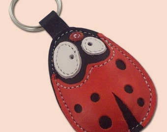 Pootjie the ladybug leather animal keychain - - FREE Shipping Worldwide - Ladybug Leather Bag Charm