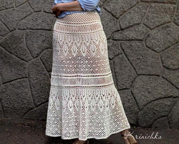 Crochet Maxi Skirt Pattern For Sizes S 5xl Boho Crochet Skirt