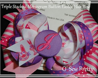 EASTER HAIR BOWS, Personalized Easter Hair Bows,monogrammed button hair bow with childs initial,Initials on hair bows,Little girl gifts