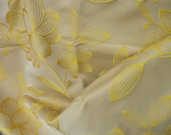 Ivory beige upholstery woven yellow flowers fabric * 1.40 m x 1 m * mint condition