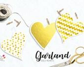 Gold Hearts Garland/  Sta...