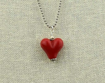 Bright Red Glass Bead Heart Necklace