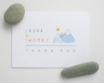 Wedding Thank You Notes in White /  Eco Kraft Brown -- The Mountains -- Customizable Set -- CHOOSE YOUR QUANTITY