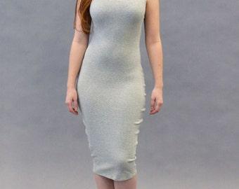 Heather Gray Micro Rib Midi Tank Dress