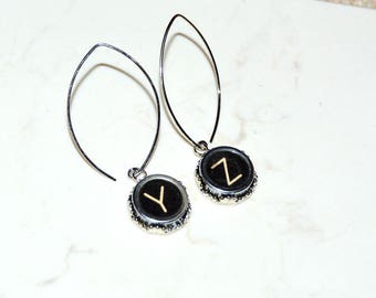 Typewriter Key Earrings – Y & Z Earrings - Upcycled, Art Deco-Steampunk Style.