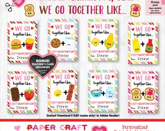 We Go Together Like - Food Pairs Valentine Cards | Printable Classroom Valentines | Classroom Exchange Cards | By Paper Craft Valentines