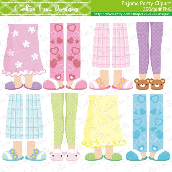 pajama party clipart girls pajama feet clipart cg154 rh etsy com Pajama Day at School Clip Art pajama party clipart free
