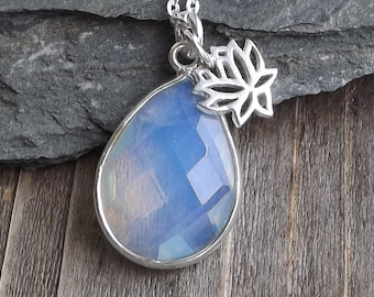 Opalite lotus pendant / Sterling silver lotus with faceted opalite gemstone/ Teardrop Opalite layering necklace