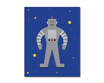 S A L E - Robot - 5x7 Children's Art Print - Outer Space Theme
