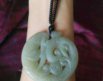 genuine HeTian jade carved ancient dragon 12 twelve Chinese zodiac man boy new lucky present bf handmade rope vintage ancient gift
