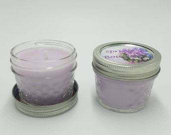 Scented Candle/Purple Candle/Mini Jar Soy Candles/ Spring Bouquet/Homemade Candle