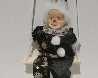 Porcelain Clown Doll on swing Hanging