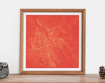 WARSAW MAP - Customizable Colors, Warsaw Walll Art, City Map Poster, Condo Home Decor