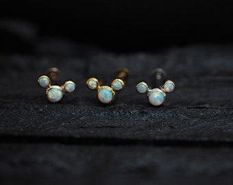 White opal mini mouse sterling silver SCREW flat back Tragus/cartilage/helix/Monroe/conch/lobe piercing