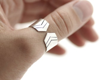 Sterling Silver Chevron Ring - Wide Band - Made to Order