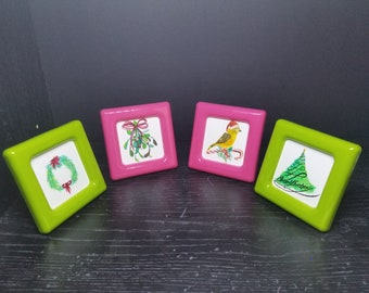 Christmas mini acrylic painting with frame set