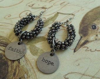 Sale! Faith & Hope Inspirational Pewter Tim Holtz Typed Tokens with Pewter Beaded Loops Dangle Earrings, Found Objects, Statement. Hang 2.5""