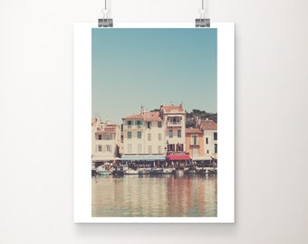 Cassis photography, France wall art, French Riviera, travel photography, Cassis harbor, Europe fine art photograph, architecture