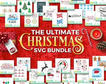 Christmas SVG Bundle: Holiday SVG Files, Winter svg Bundle, Santa svg, Christmas Tree Truck Svg, DXF Silhouette Cameo, Cricut Christmas Svg
