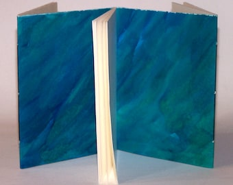 hand-painted three-section journal, blue green
