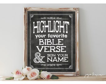 Instant 'Highlight your favorite BIBLE VERSE and sign your name' Printable Event Bible Verse Sign Rustic Chalkboard Sign