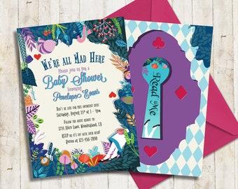 Alice in Wonderland Baby Shower Invitation | Bridal Shower Invitation | Garden Tea Party Invitation | Digital Printable Invitation