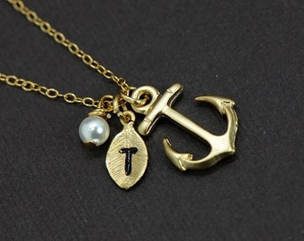 Personalized Anchor Necklace, Gold Anchor Necklace, Initial Hand Stamped Leaf, Nautical Theme, Best Friend Gift Idea, Vintage Inspired
