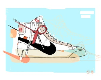 Off White Nike Blazer Print