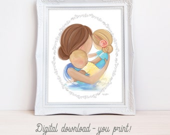 INSTANT DOWNLOAD Set of 2 Printable Wall Art for Girl's Room Decor, Gift for Wife and Mom, Mother's Day Baby Shower Gift